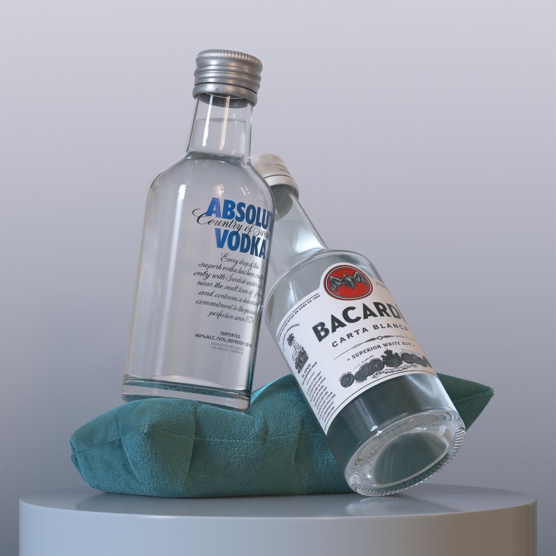 Miniature liquor bottles - Photorealistic product render