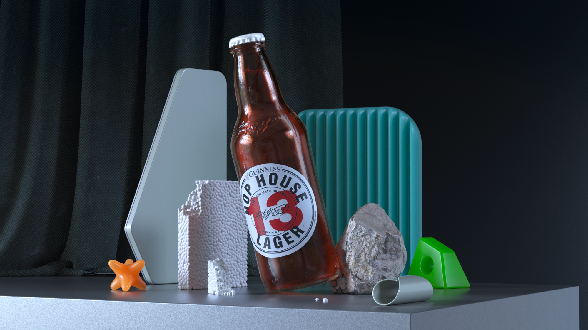 All the details of this Still-Life 3D Render are designed to highlight the main figure and achieve an attractive rendering for marketing.