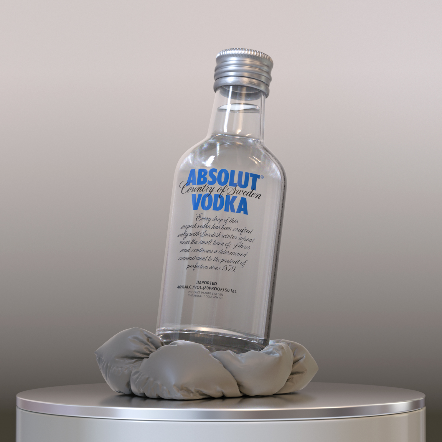 Photorealistic Product Rendering - Product 3D image. Mini bottle of alcoholic drink.